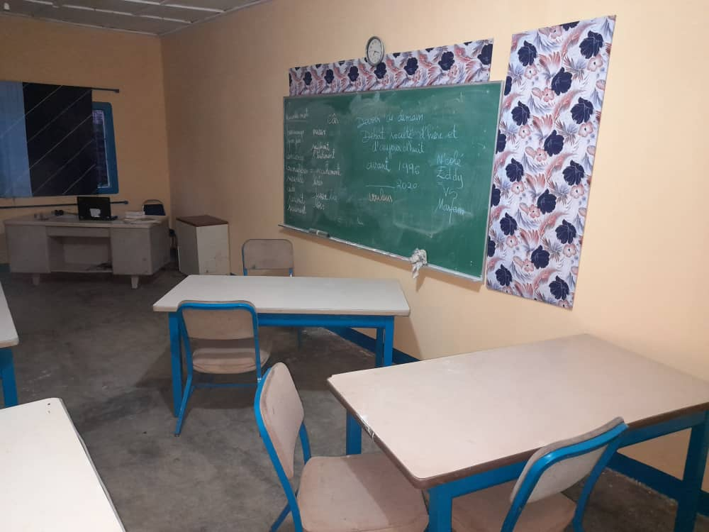 repainted classroom at Canchungo campus